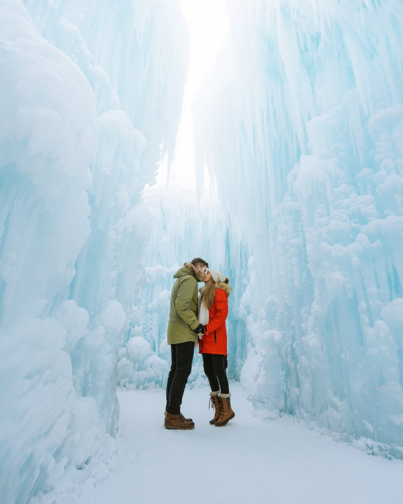 How To Take Stunning Travel Photos as a Couple - Renee Roaming - Canada Ice Castles