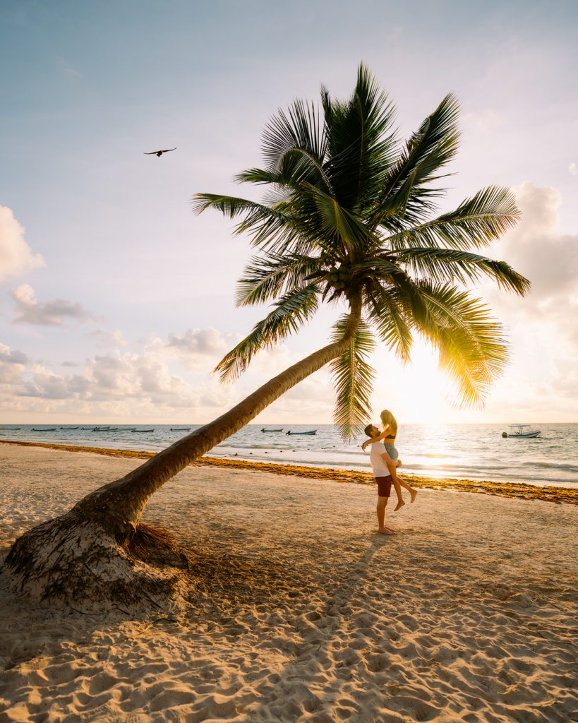 How To Take Stunning Travel Photos as a Couple - Renee Roaming - Tulum Mexico Palm Tree