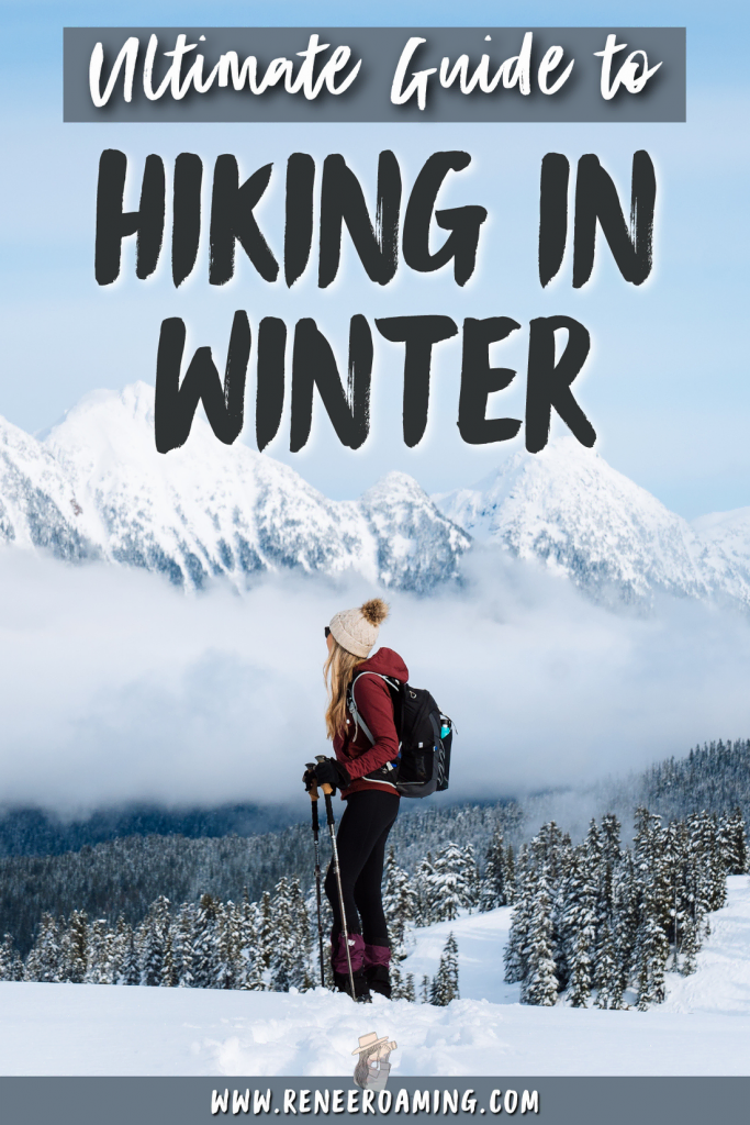Winter hiking and camping can be absolutely magical… but it can also be challenging! It comes down to being prepared, ensuring you have the right gear, and researching the conditions. This guide shares with you all the essentials for getting out winter hiking and backpacking, including how to research, plan ahead, and what gear to use. | Winter hiking | Hiking in winter | Backpacking in winter | Winter backpacking | #winterhiking #hikinginwinter