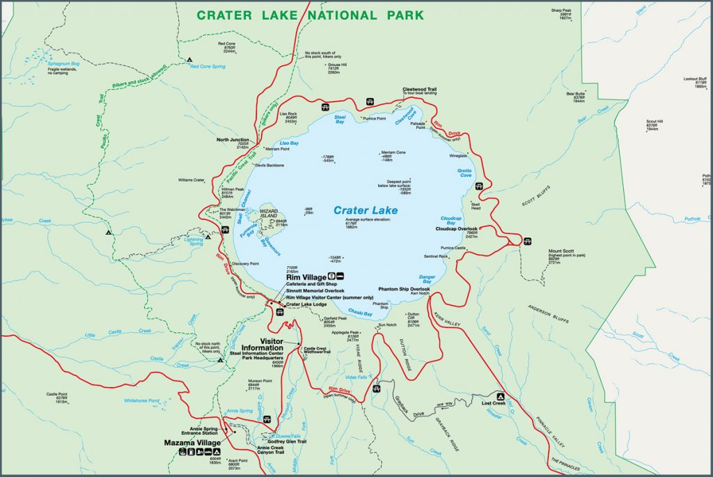Scenic Oregon 7 Day Road Trip Exploring the Mountains and Coast - Crater Lake National Park Map