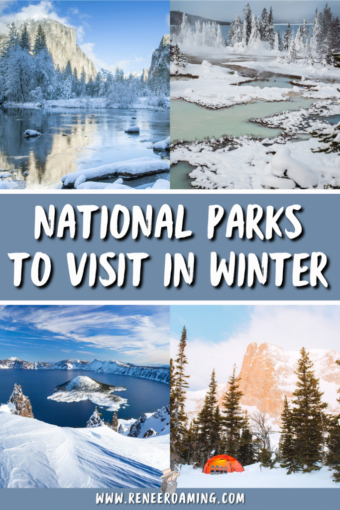 Winter is a great time to visit national parks! Not only are they less busy, but they are often even more magical when dusted with snow. In this blog post I am sharing the 12 best national parks to visit in winter. Some of them are snowy wonderlands and others are incredible choices for their sunshine and optimal weather.   USA National Parks winter   Winter travel inspiration   Winter trip planning   USA winter travel   winter parks road trip   #nationalparks