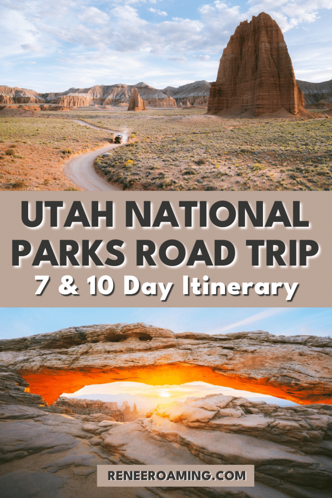 One of the best and most classic American vacations is taking a Utah National Parks road trip. Utah's 'Mighty 5' consists of five absolutely incredible national parks: Zion, Bryce Canyon, Capitol Reef, Arches, and Canyonlands. This Utah national parks itinerary can be catered to a 7-day or 10-day vacation, or adjusted even further to suit your needs. Keep reading for all the Utah National Parks insider tips! #utah #nationalparks #roadtrip #usatravel