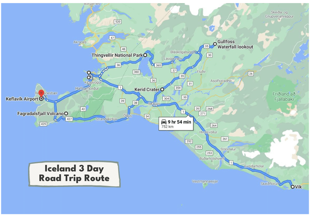 3 Day Iceland Road Trip Itinerary Map | Incredible Iceland Road Trip Itinerary and Planning Guide