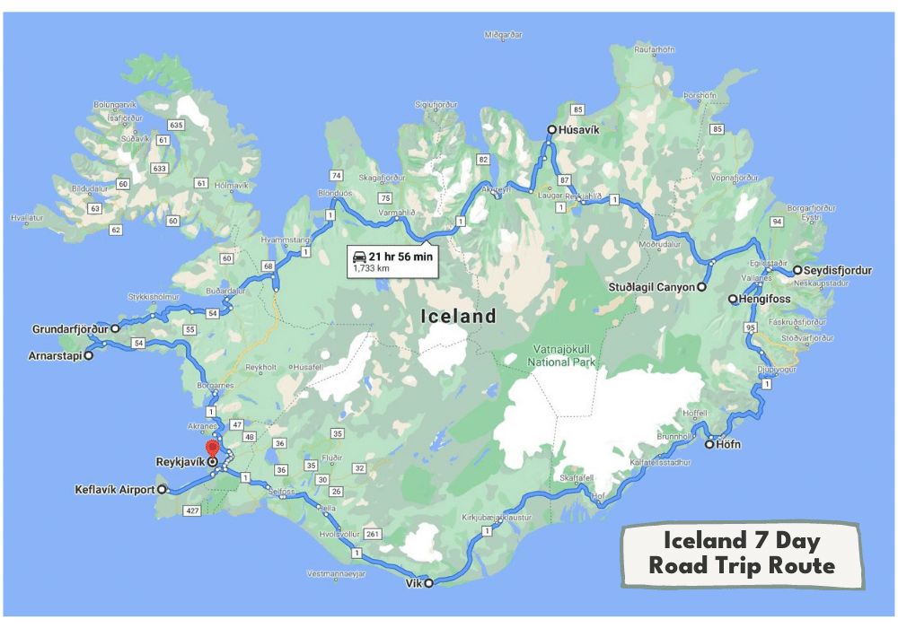 7 Day Iceland Road Trip Itinerary Map | Incredible Iceland Road Trip Itinerary and Planning Guide
